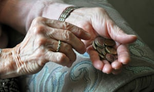 Older woman counting change