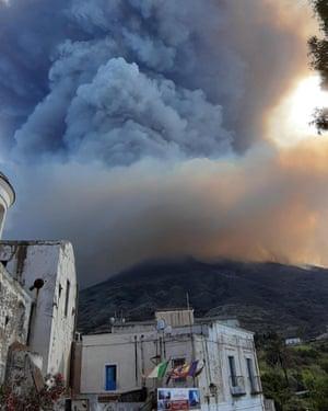 Stromboli volcano erupting