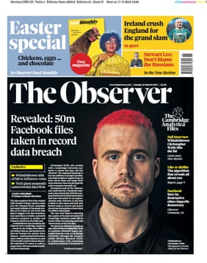 Carole Cadwalladr's Cambridge Analytica story in the Observer.