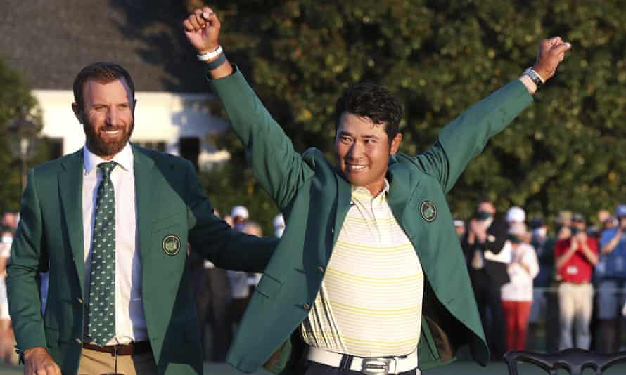 Hideki Matsuyama, of Japan, celebrates after winning the Masters golf tournament .