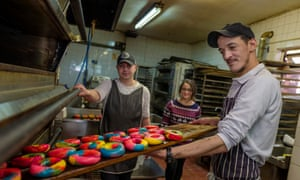 Into the oven … rainbow bagels at Brick Lane.