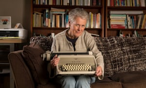 Leonie Orton-Barnett photographed at home in Norfolk with the typewriter used by her brother Joe Orton