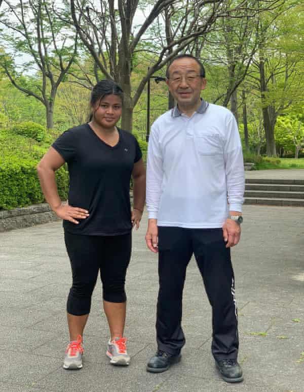 Kiribati Olympic hopeful Kinaua Biribo with coach Shigeru Kimura, who has been assisting her in Japan