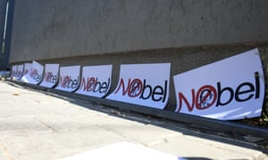 Protest in Kosovo in October against the award of the 2019 Nobel prize for literature to Peter Handke.