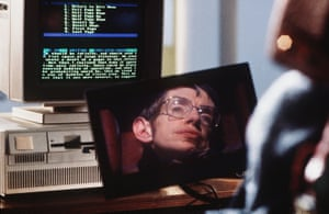 A scene from Errol Morris's 1992documentary A Brief History of Time (1992) showing Hawking's face reflected in a screen
