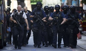 Armed police officers in the London Bridge area after the attack.