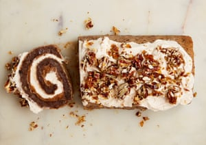 Yotam Ottolenghi's mochi pecan roulade with praline and cream.