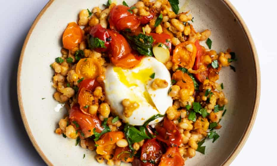 'A very good accompaniment to a fried breakfast': beans, burrata and tomatoes.