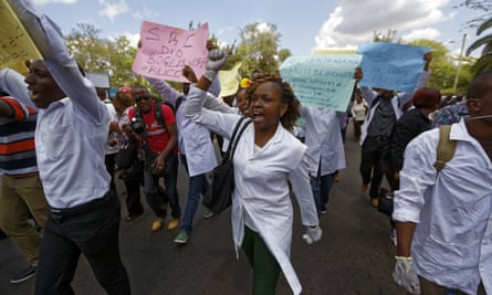 Striking Kenyan medics demonstrate over low pay at Uhuru Park in central Nairobi, on Monday.
