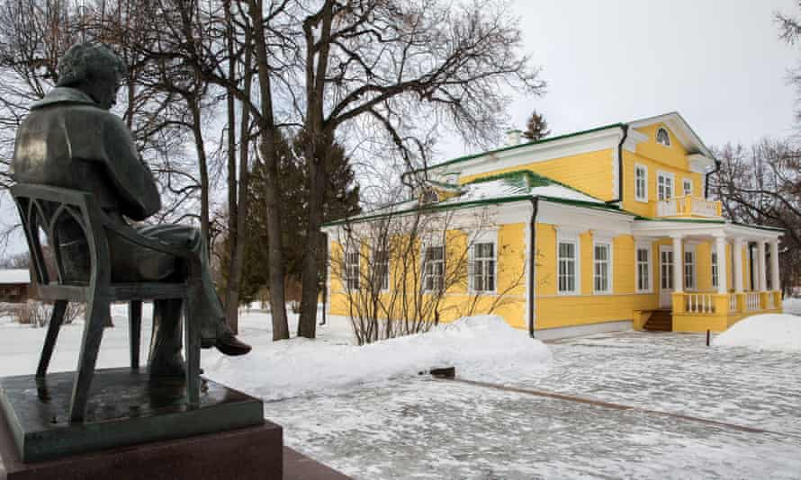 A statue of Alexander Pushkin outside the manor house at a museum on the e Pushkin estate.