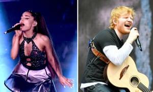 Ariana Grande (L) and Ed Sheeran (R)