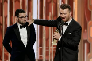Sam Smith accepts the award for Best Original Song - Motion Picture for Writing's on the Wall
