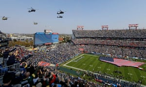 Helicopters fly over Nashville's Nissan Stadium during the Salute to Service pre-game activities