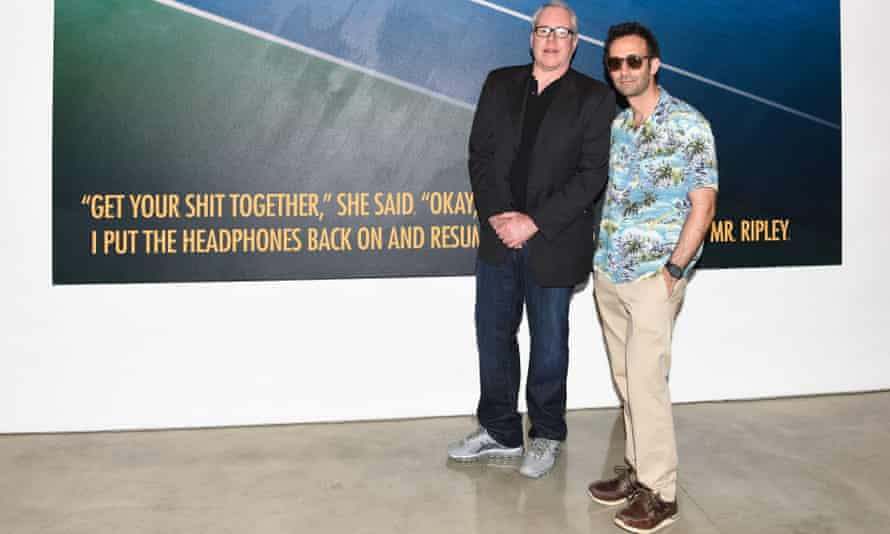 Alex Israel (right) and Bret Easton Ellis at the Gagosian in Los Angeles, where they are exhibiting their work.