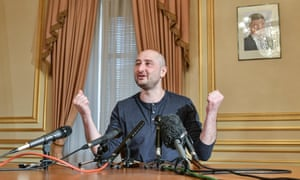 Arkady Babchenko at a press conference during which he dismissed criticism of his co-operating with Ukrainian security services in the staging of his death, a day following his shock reappearance after Ukrainian authorities said he had been shot dead.