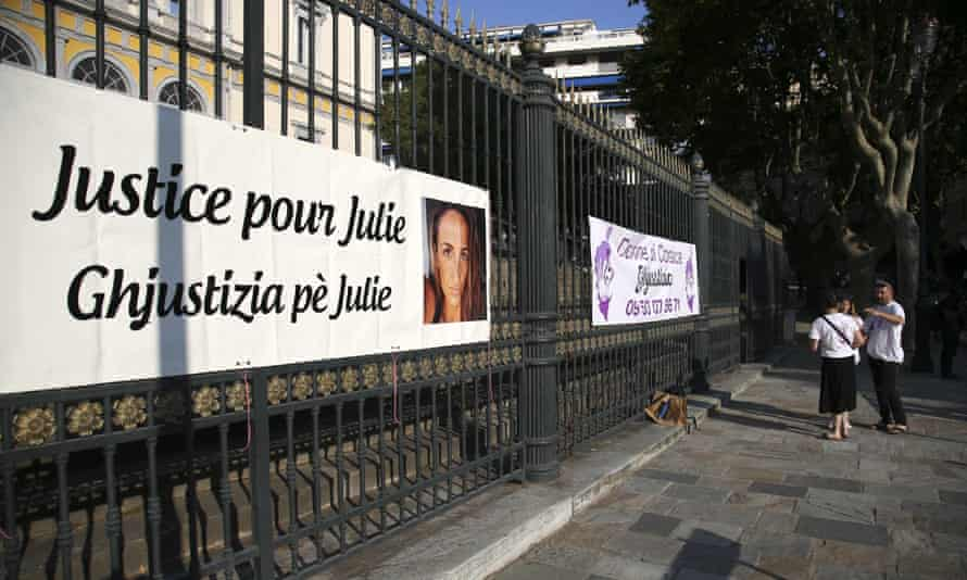 A banner reading 'Justice for Juie' outside the court in Bastia where Bruno Garcia-Cruciani has gone on trial.