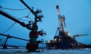 A well head and drilling rig in the Yarakta Oil Field in Irkutsk, Russia.