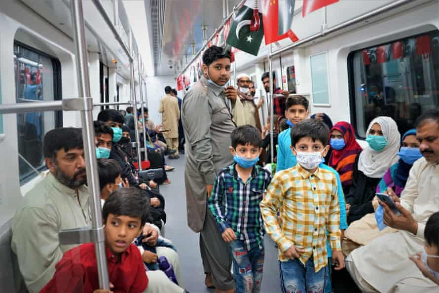 Lahoris riding the Orange Line for the first time