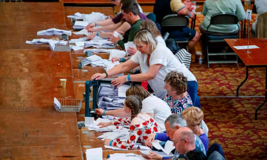 Ballot papers are counted in Southampton
