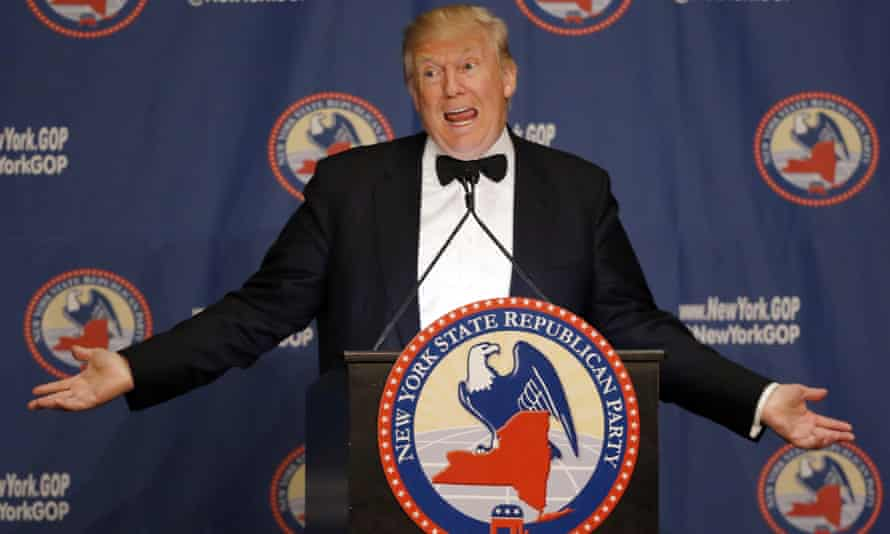 Donald Trump's presence at the New York state committee gala drew plenty of ire from protesters, who demonstrated against what they called 'the party of hate'.
