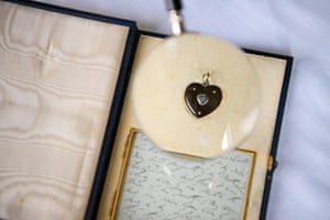 Charles Dickens's hair stored in a locket that belonged to his sister-in-law Mary Hogarth, who died at Doughty Street in 1837 at the age of 17.