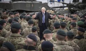 Boris Johnson speaks to British troops stationed in Estonia.