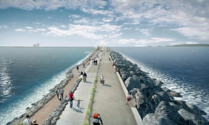 An artist's impression of the Swansea Bay tidal lagoon scheme.