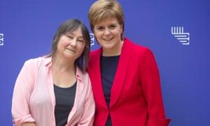 Nicola Sturgeon (right) with Ali Smith at the Edinburgh international book festival in August.