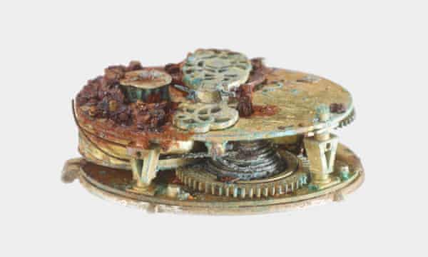 The inside mechanism of a post-medieval silver pocket watch found in Buckinghamshire