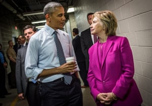 Above the fray … Clinton with Barack Obama.
