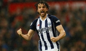 West Bromwich Albion's Jay Rodriguez celebrates scoring the opener.