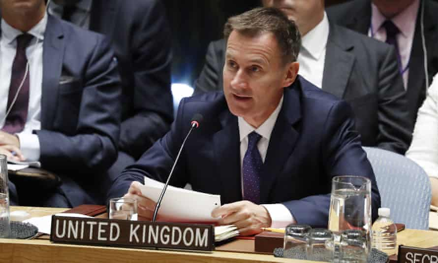 Jeremy Hunt speaks during a UN security council meeting in New York
