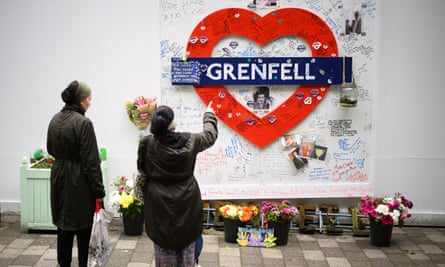 A memorial to those who died, near the site of Grenfell Tower