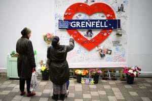 A tribute near the site of Grenfell Tower