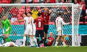 Tomas Soucek of Czech Republic reacts after his miss.