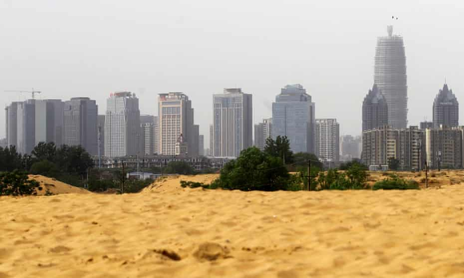Sand piled up on the outskirts of Zhengzhou, China.