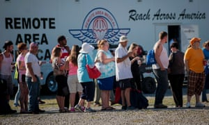 People queue to be seen in the triage tent during the 16th annual Remote Area Medical clinic in Virginia, US