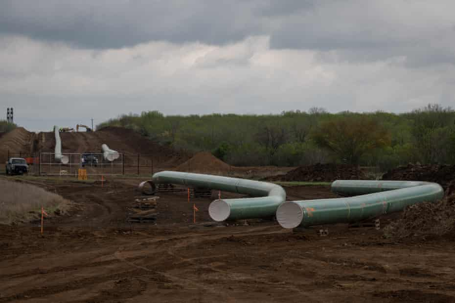 Pipeline construction for future transport of crude oil from the Permian Basin to Port Corpus Christi.