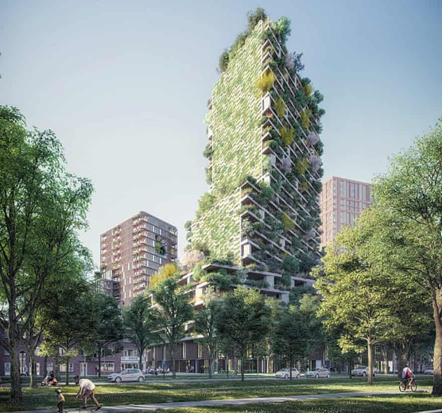 Artist's impression of the Utrecht vertical forest tower