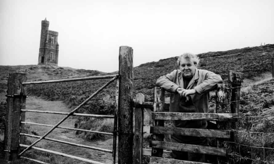 Novelist George MacDonald Fraser at home on the Isle of Man.