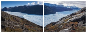 Qorqup glacier, one area of focus during the study, has been considerably well-monitored over the last two decades and research has shown significant retreat. The boat had to stop approaching the glacier 6km from the front due to the risk travelling between drift ice. In this diptych by Thymann, looking at the fjord from above it is easy to see where the ice becomes too packed to travel further towards the glacier by sea.