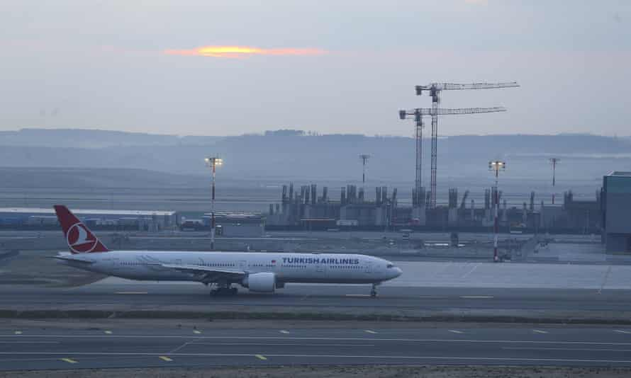 A Turkish Airlines plane touches down on Friday morning at the as yet unfinished Istanbul airport.