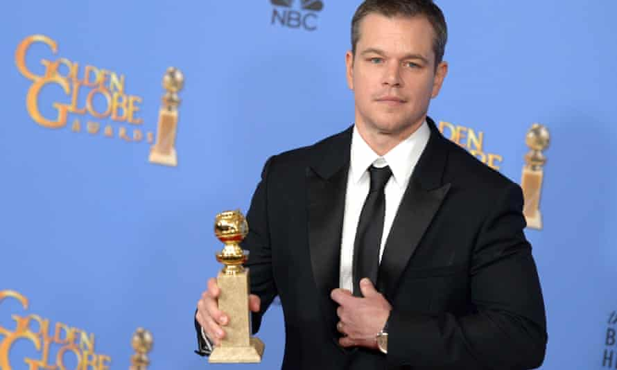 Matt Damon with his best actor in a musical or comedy prize on Golden Globes night.