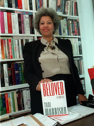 With a copy of her Beloved, for which she won the Pulitzer prize for in 1988