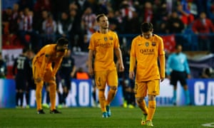 Lionel Messi and his team-mates are dejected after going behind.