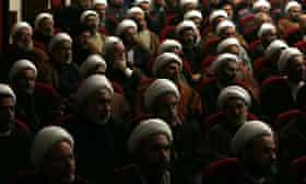 Lebanese Shia clerics listen to Sheikh Hassan Nasrallah, who strongly condemned Saudi Arabia for executing Nimr al-Nimr.