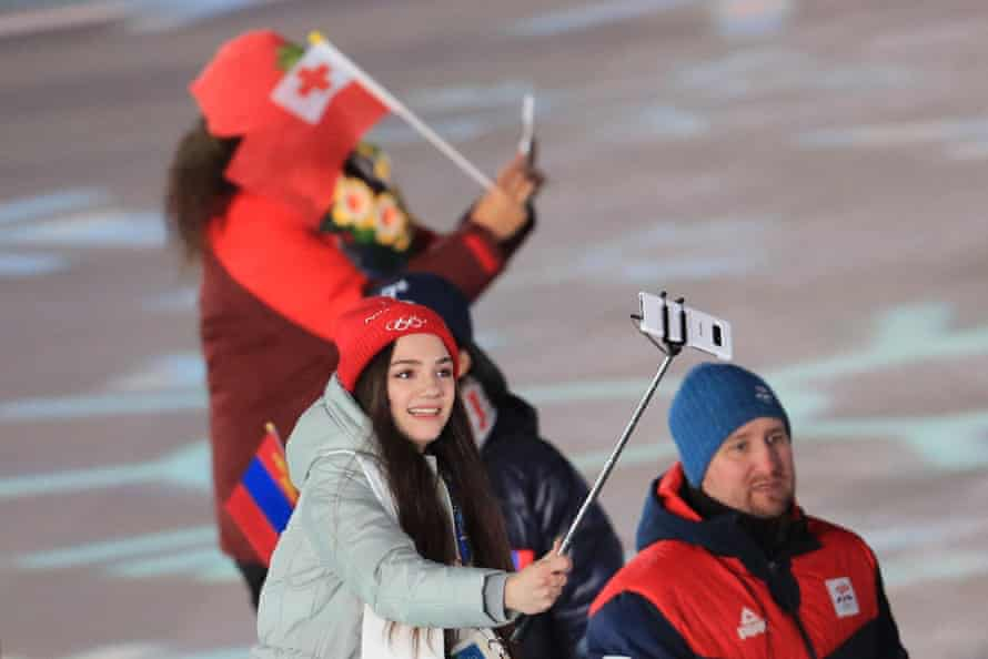 Olympic Athlete from Russia, figure skater Evgenia Medvedeva takes a selfie as she takes part in the Parade of Nations