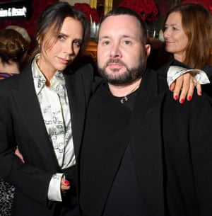 Kim Jones and Victoria Beckham attend the Victoria Beckham x YouTube Fashion & Beauty After Party at London Fashion Week hosted by Derek Blasberg and David Beckham, at Marks Club on February 17, 2019 in London, England