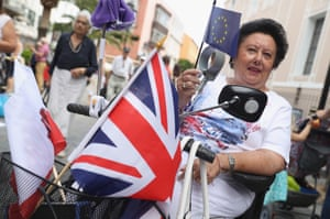 A woman with British and European Union flag