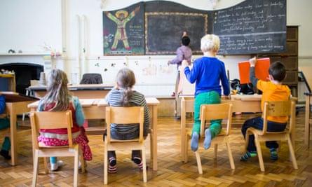 Children being taught at the Cardiff Steiner Waldorf School